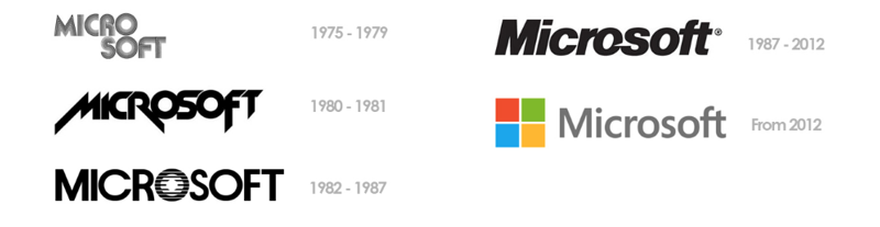 Microsoft brand through the years