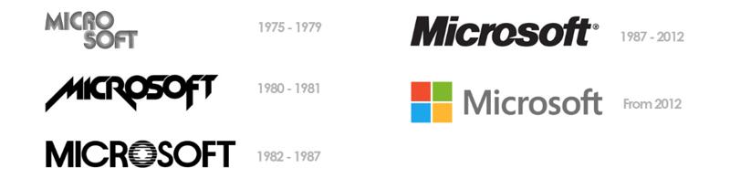 Microsoft brand through the years