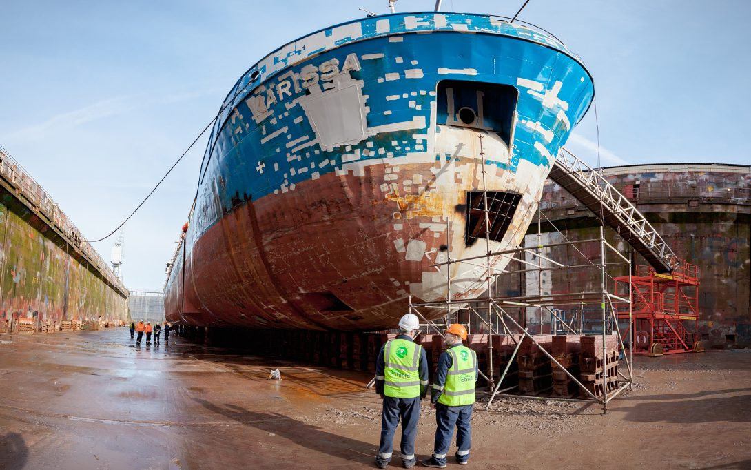 Shield staff in high vis at dry dock