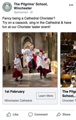 The Pilgrims' School Facebook ads