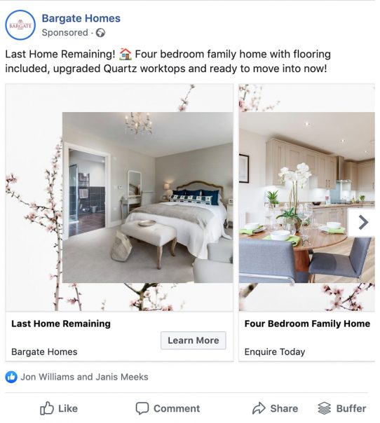 Bargate Homes Facebook ads