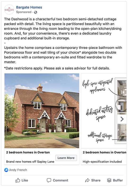 Bargate Homes Facebook ads